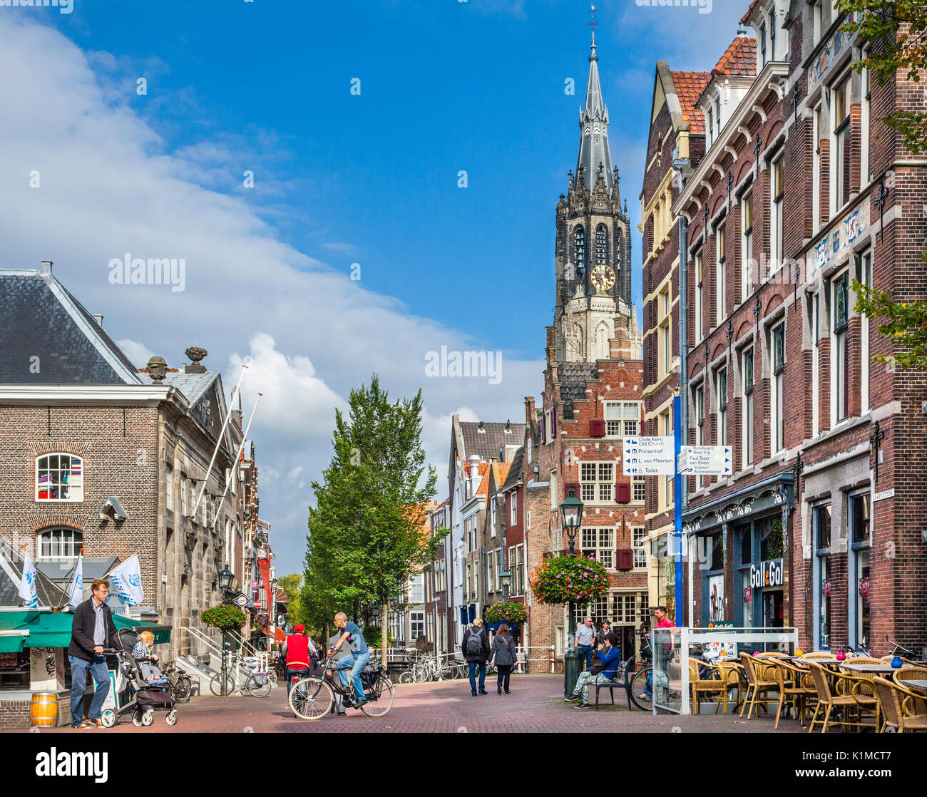 Netherlands, South Holland, Delft, view Camaretten, a square off the Market square which used to be a fish market, with the old Vleeshal (meat hall),  - Stock Image
