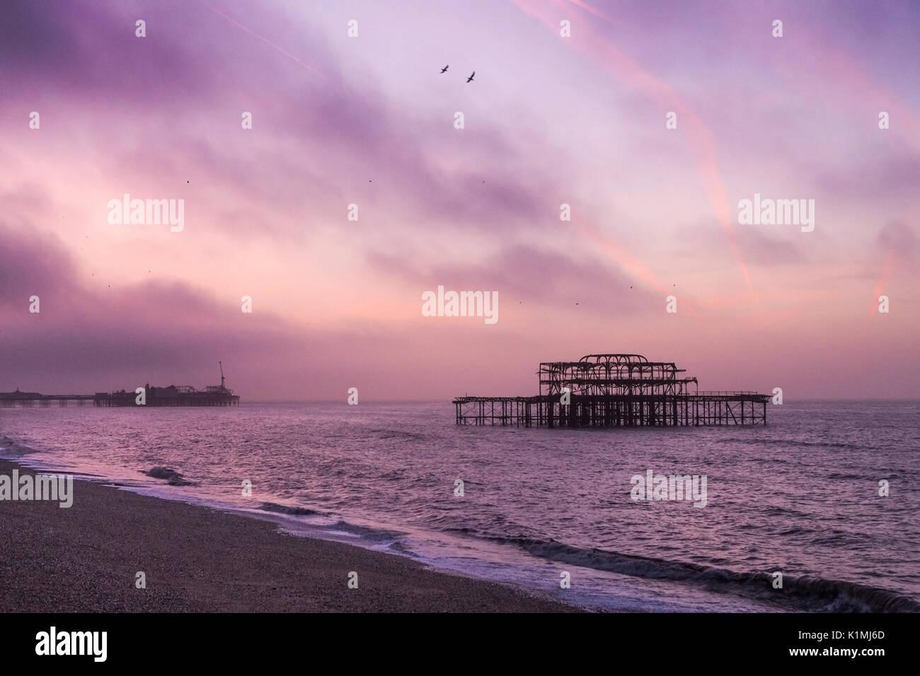 United Kingdom, Brighton. West pier at sunrise - Stock Image