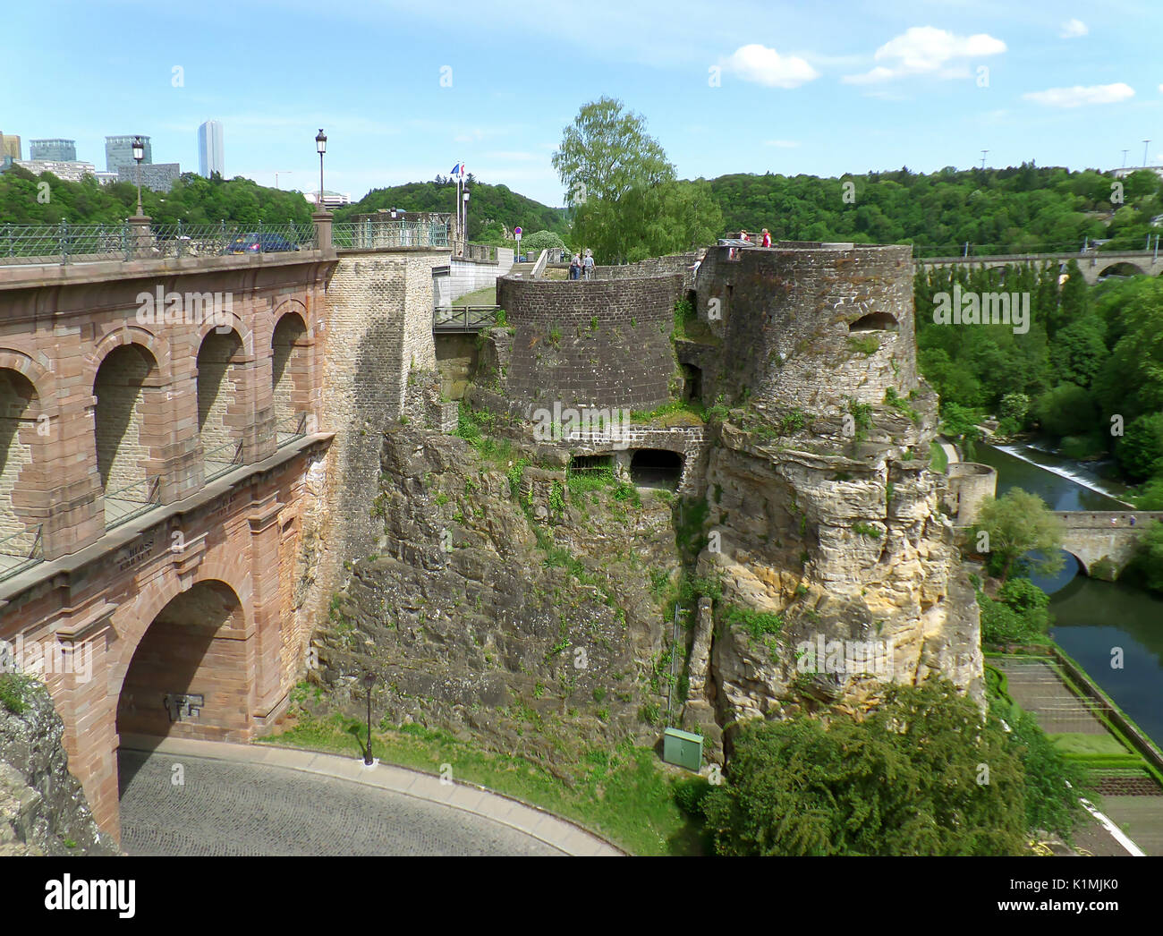 Pont du Chateau and Bock Casemates at Luxembourg City, Luxembourg - Stock Image