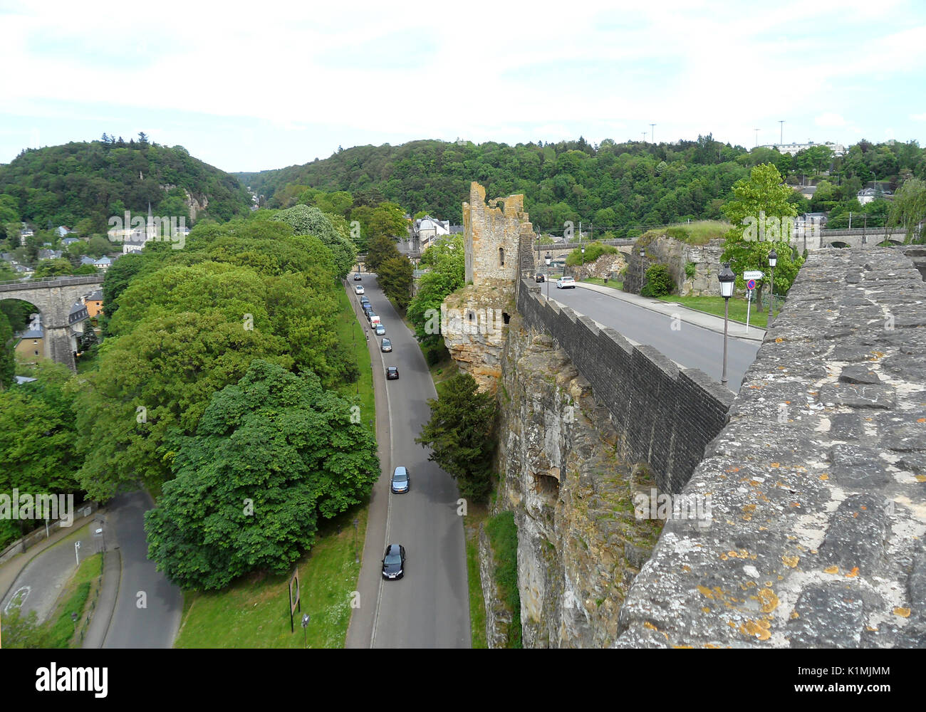 The Hollow Tooth' Ruin View from the Bock Casemates, Upper Town of Luxembourg City, Luxembourg - Stock Image