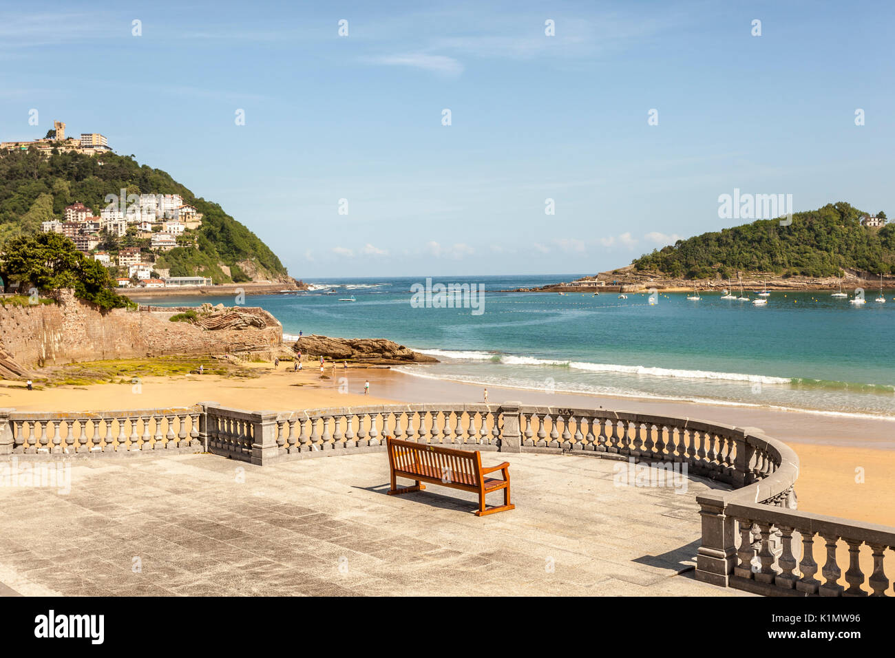 Promenade at the La Concha beach in San Sebastian, Donostia. Basque country, Spain - Stock Image