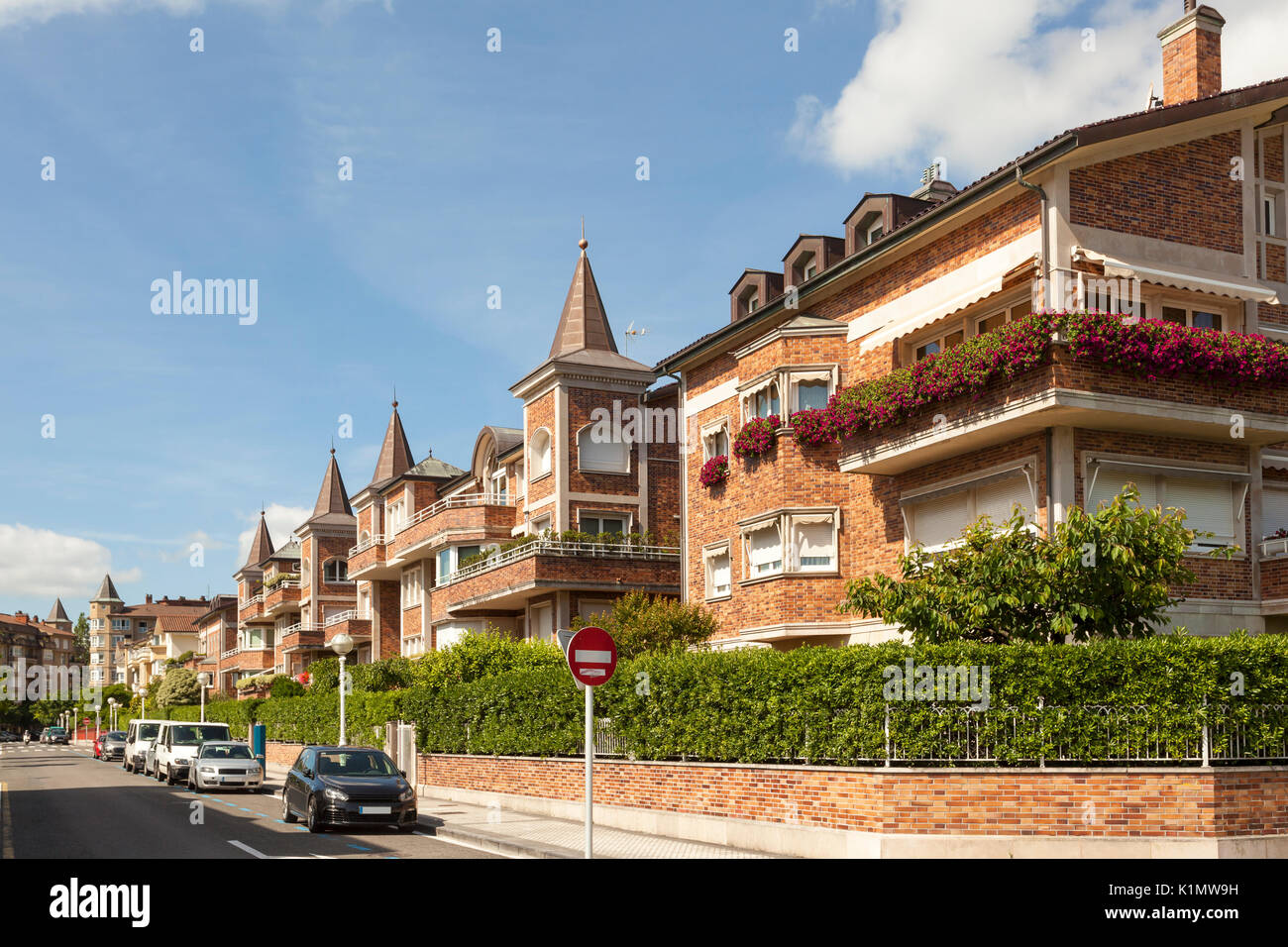 Residential street in the city of San Sebastian, Donostia. Basque country, Spain - Stock Image
