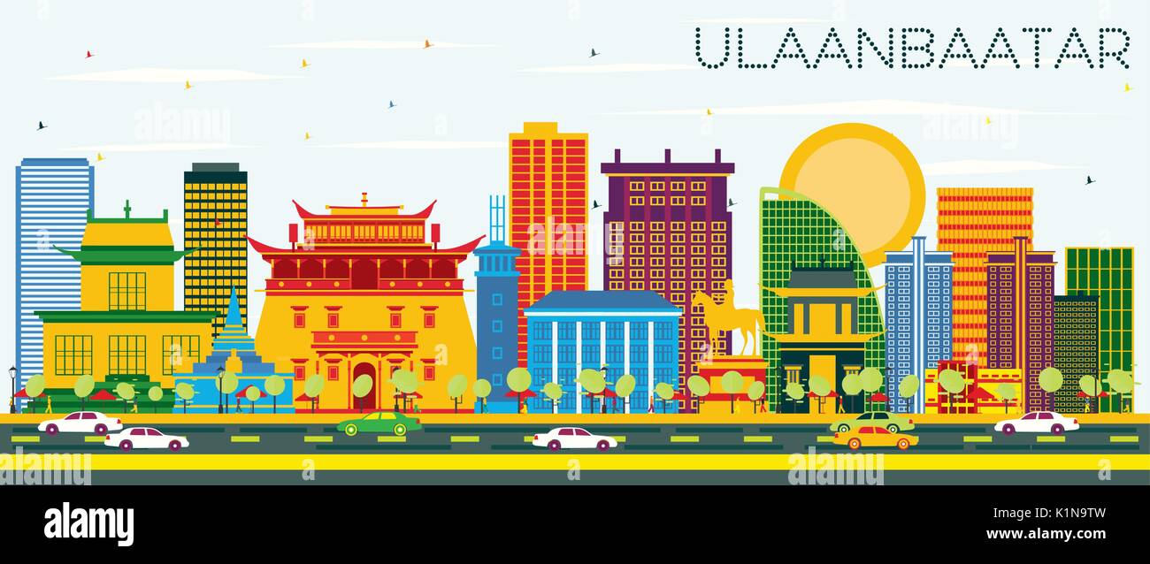 Ulaanbaatar Skyline with Color Buildings and Blue Sky. Vector Illustration. Business Travel and Tourism Concept with Historic Architecture. - Stock Vector
