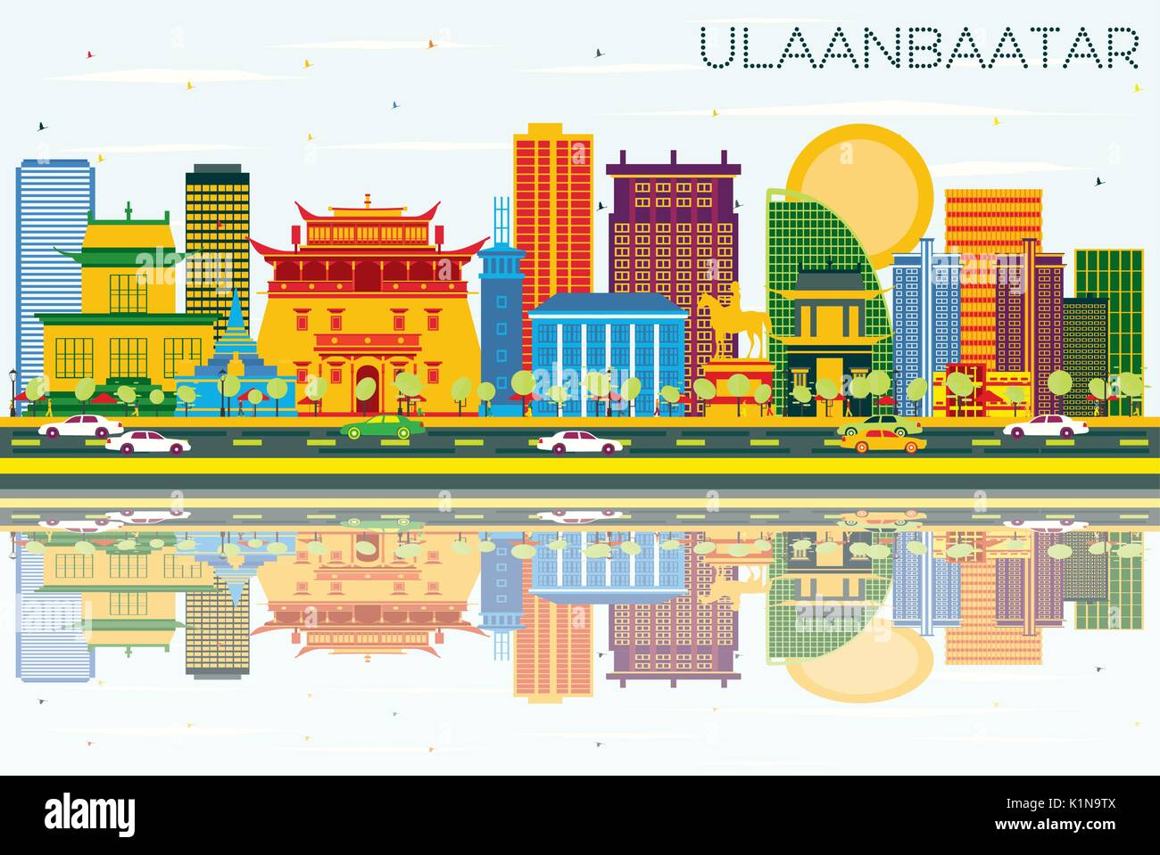 Ulaanbaatar Skyline with Color Buildings, Blue Sky and Reflections. Vector Illustration. Business Travel and Tourism Concept with Historic Architectur - Stock Vector