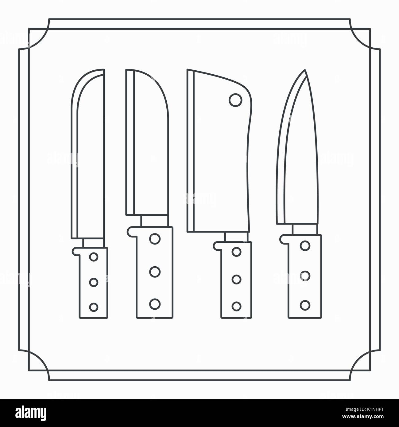 white background with frame vintage and silhouette set collection knifes - Stock Image