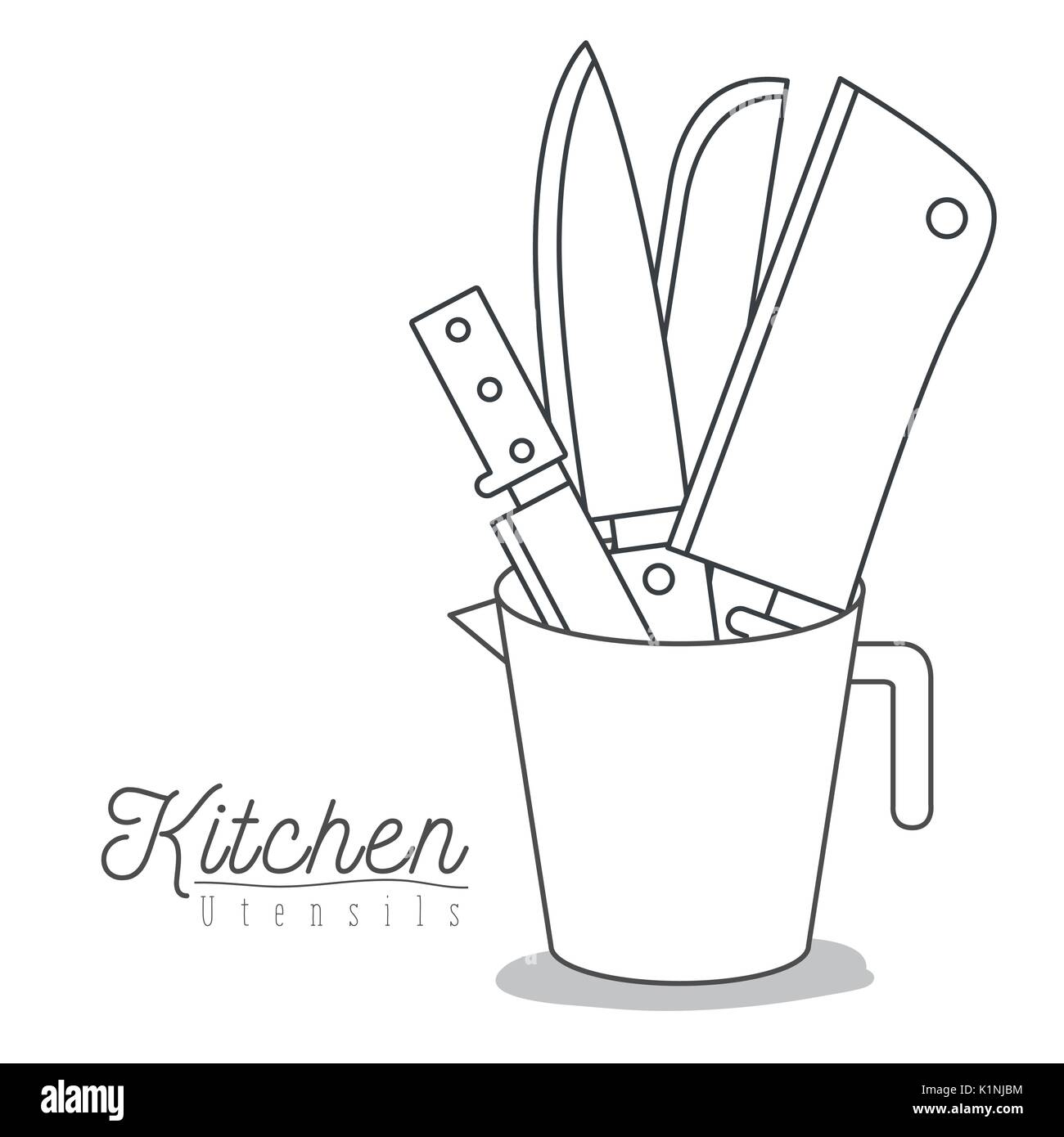 white background with set silhouette knifes kitchen utensils in jar - Stock Image