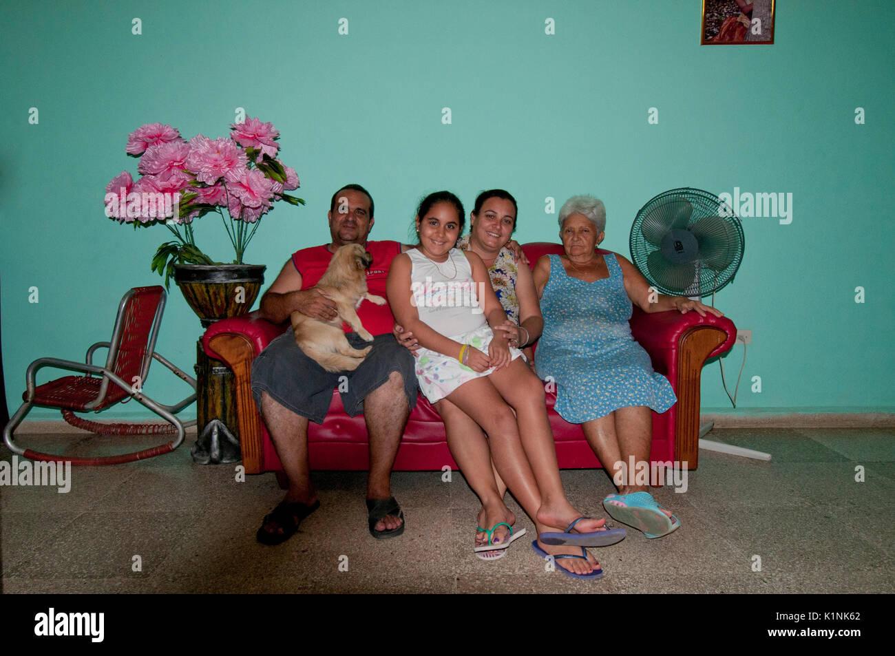 Cuban Family hosting a Casa Particulare in Trinidad Cuba Stock Photo
