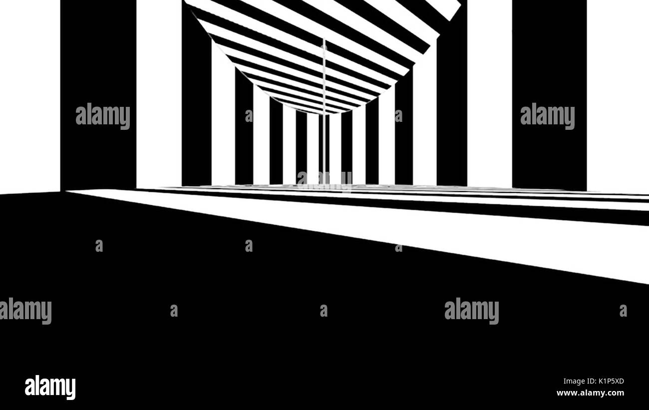 Abstract optical art. Black and white lines - Stock Image