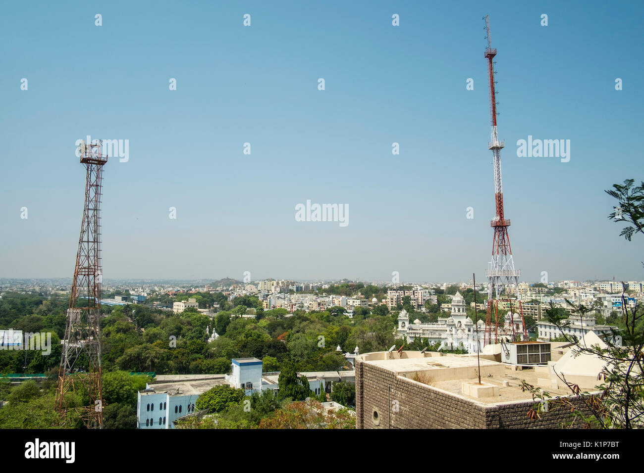 View of Hyderabad from the GP Birla Centre Stock Photo