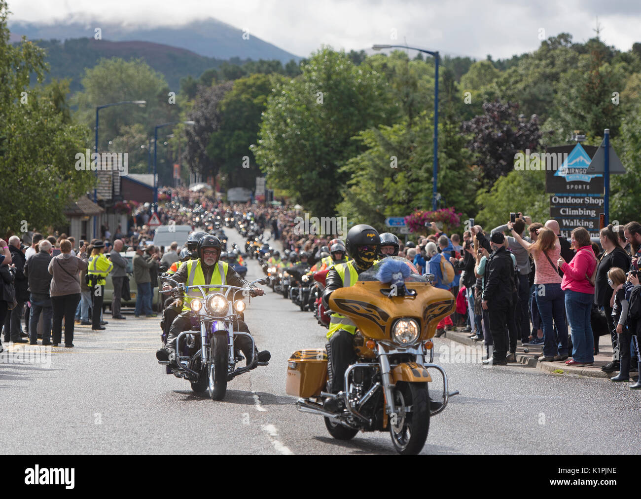 The start of the 2017 'THUNDER IN THE GLENS' convoy of 2200 Annual Harley Davidson motorcycle rally held at Aviemore Stock Photo