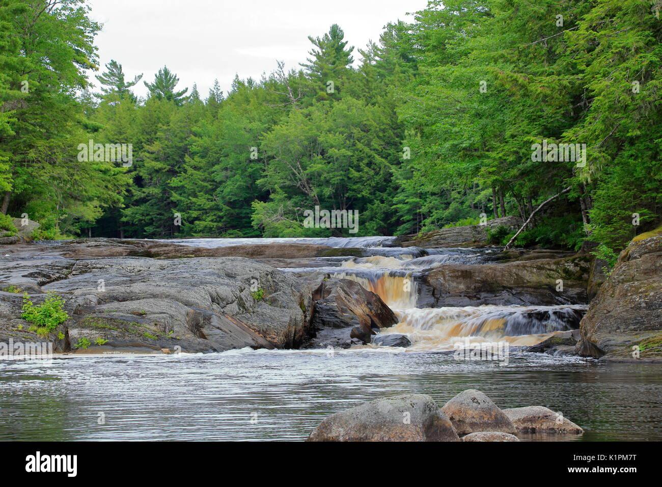 Mill Falls in Kejimkujik National Park in Nova Scotia, Canada - Stock Image