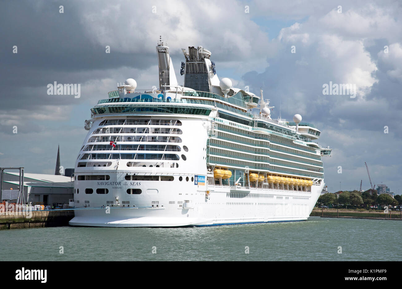 Cruise ship Navigator of the Sea alongside in the port of Southampton - Stock Image