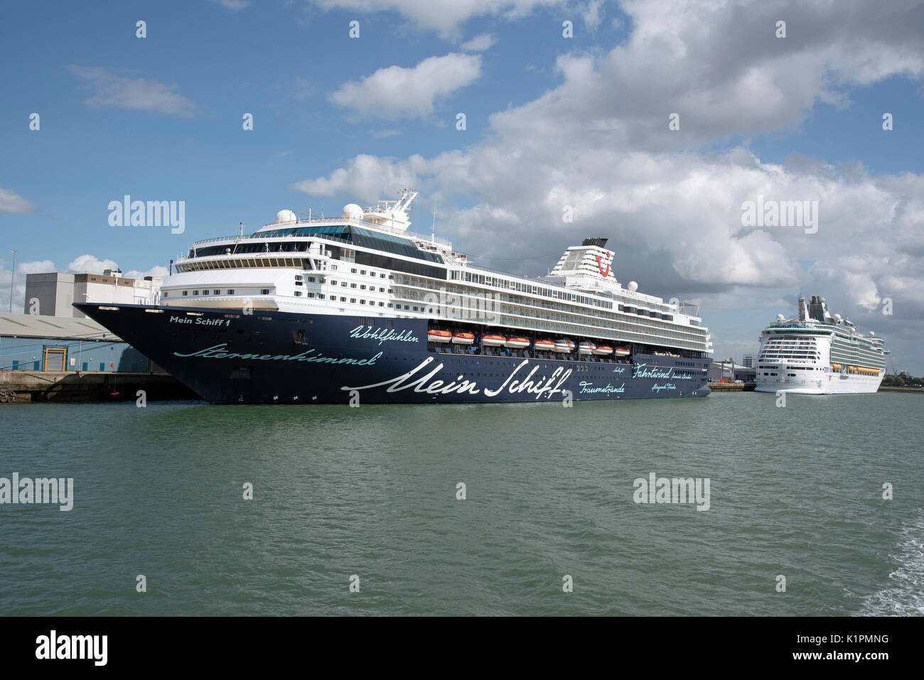 Cruise ship Mein Schiffi 1 on a stopover in the Port of Southampton England UK. August 2017 - Stock Image
