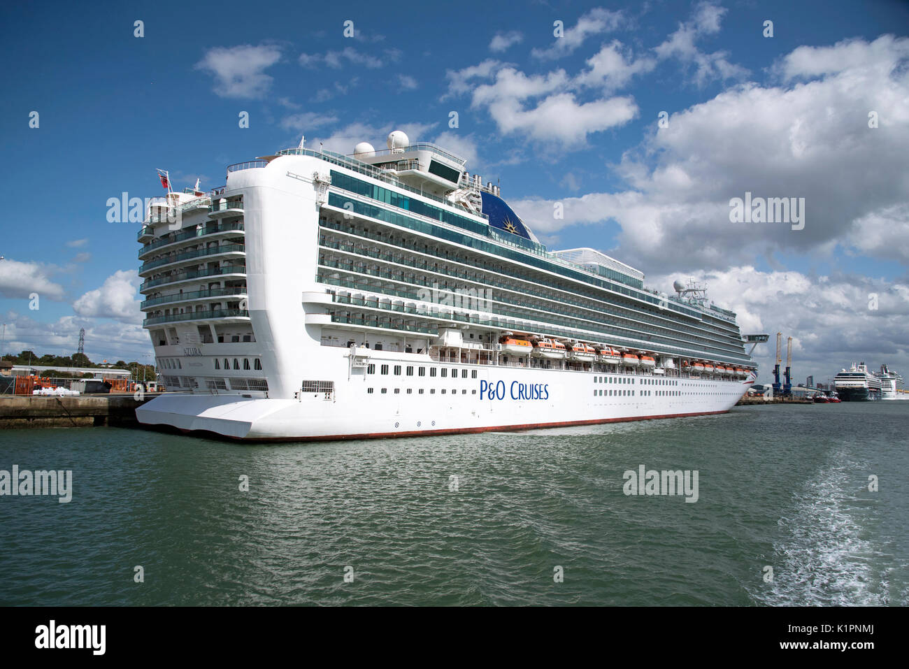 The cruise ship Azura alongside in the Port of Southampton England UK. August 2017 - Stock Image
