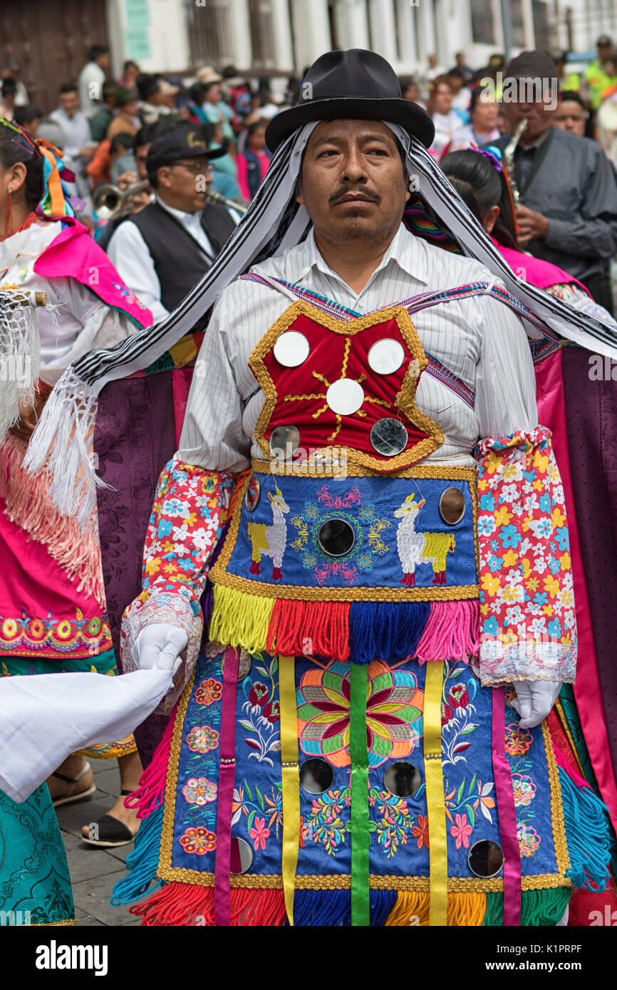 man participant Corpus Christi parade in Pujili Ecuador - Stock Image