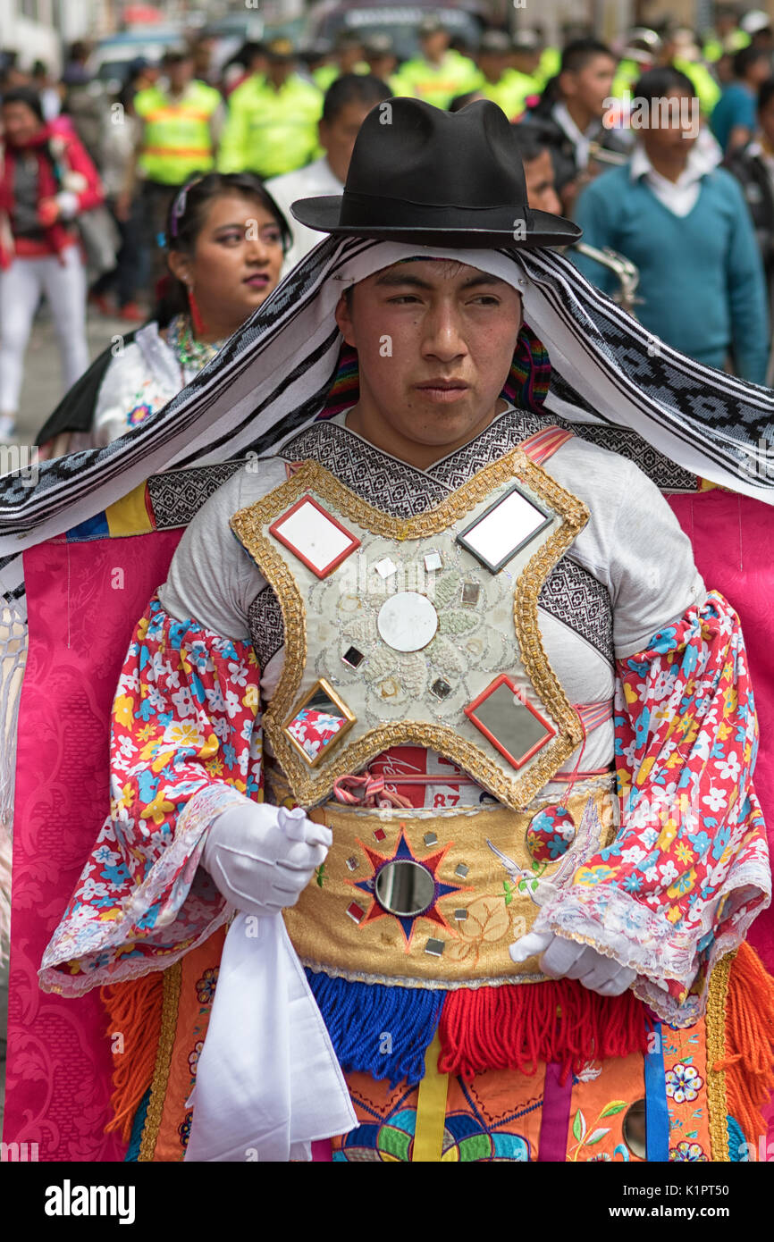male indigenous man at Corpus Christi parade in Pujili Ecuador - Stock Image