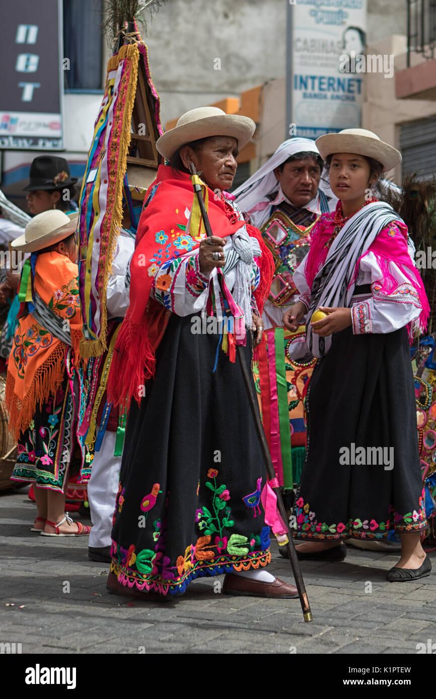 June 18, 2017 Pujili, Ecuador:  indigenous kichwa woman wearing a  traditional dress  at Corpus Christi parade - Stock Image