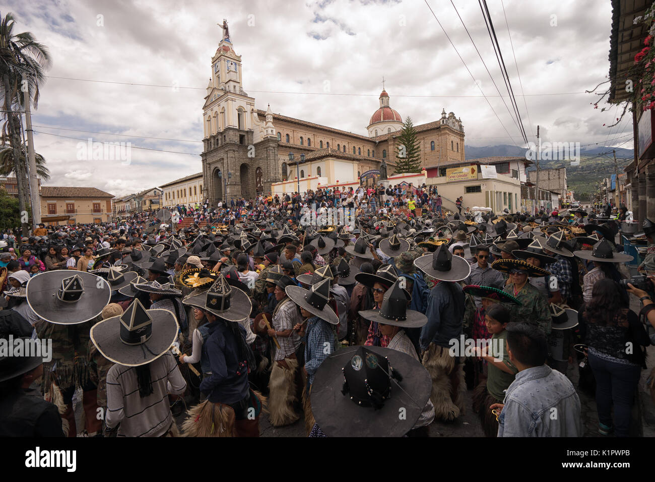June 24, 2017 Cotacachi, Ecuador: a large crowd at the Inti Raymi celebrations of the summer solstice - Stock Image