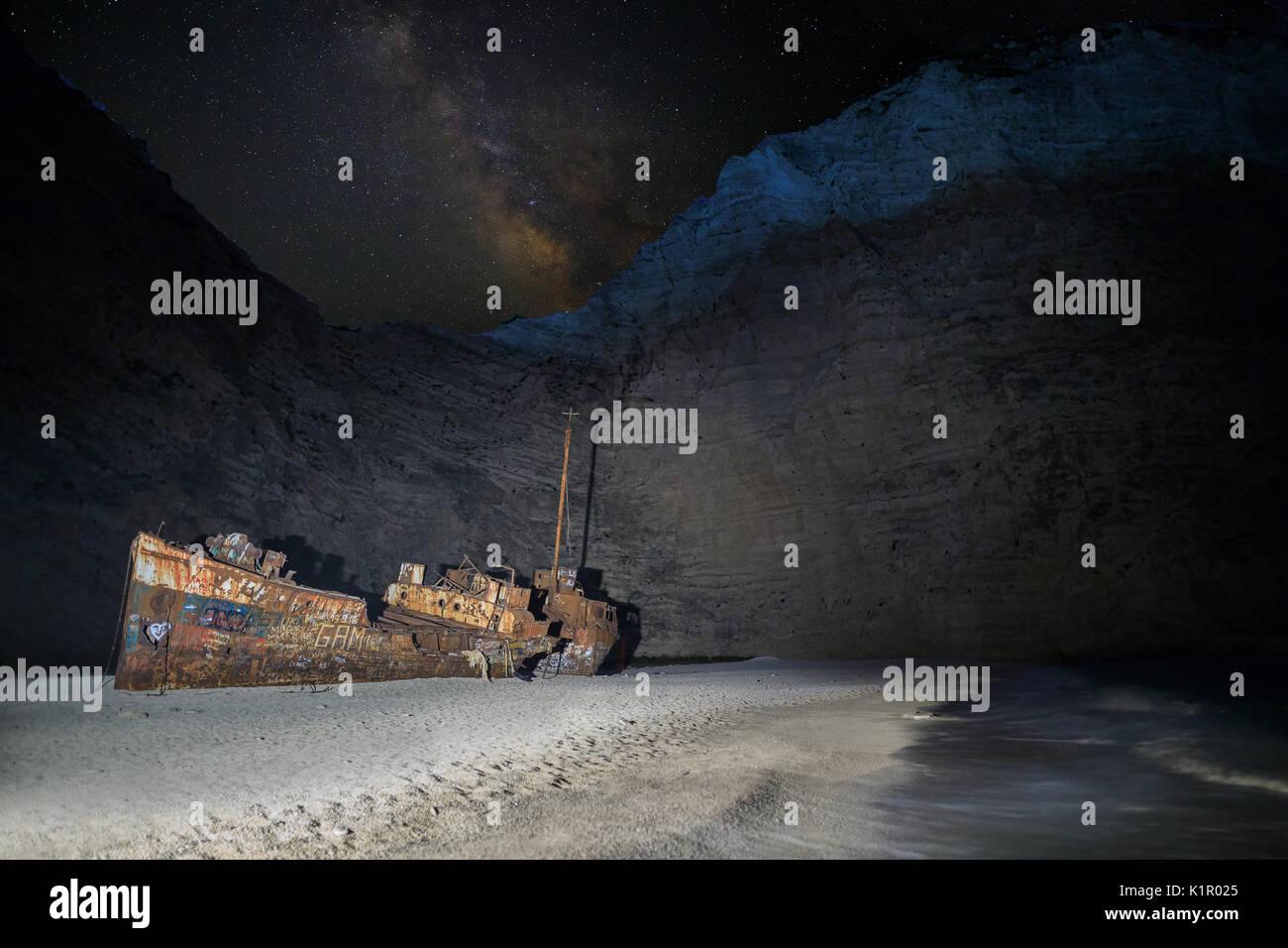 Shipwreck at Navagio Stock Photo