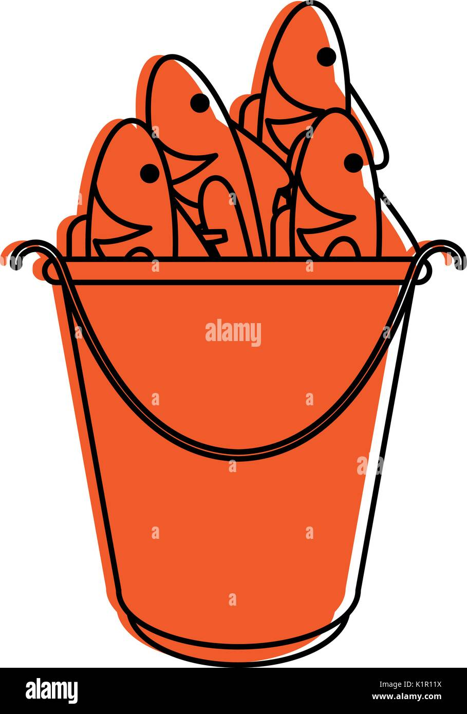 cartoon fish bait in bucket icon image vector illustration design ...