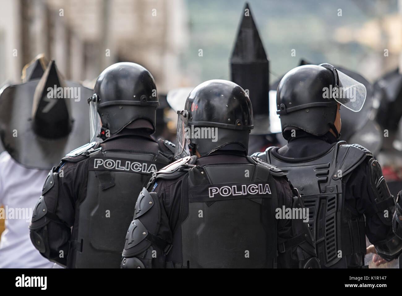 June 24, 2017 Cotacachi, Ecuador: riot  police at the Inti Raymi parade at summer solstice - Stock Image