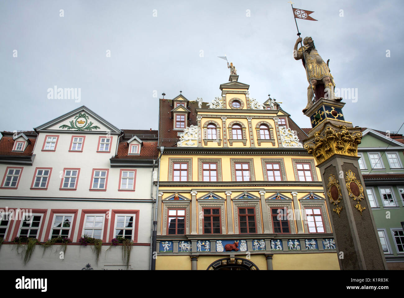 The Fischmarkt in the Old Town at Erfurt, Thuringia, Germany - Stock Image