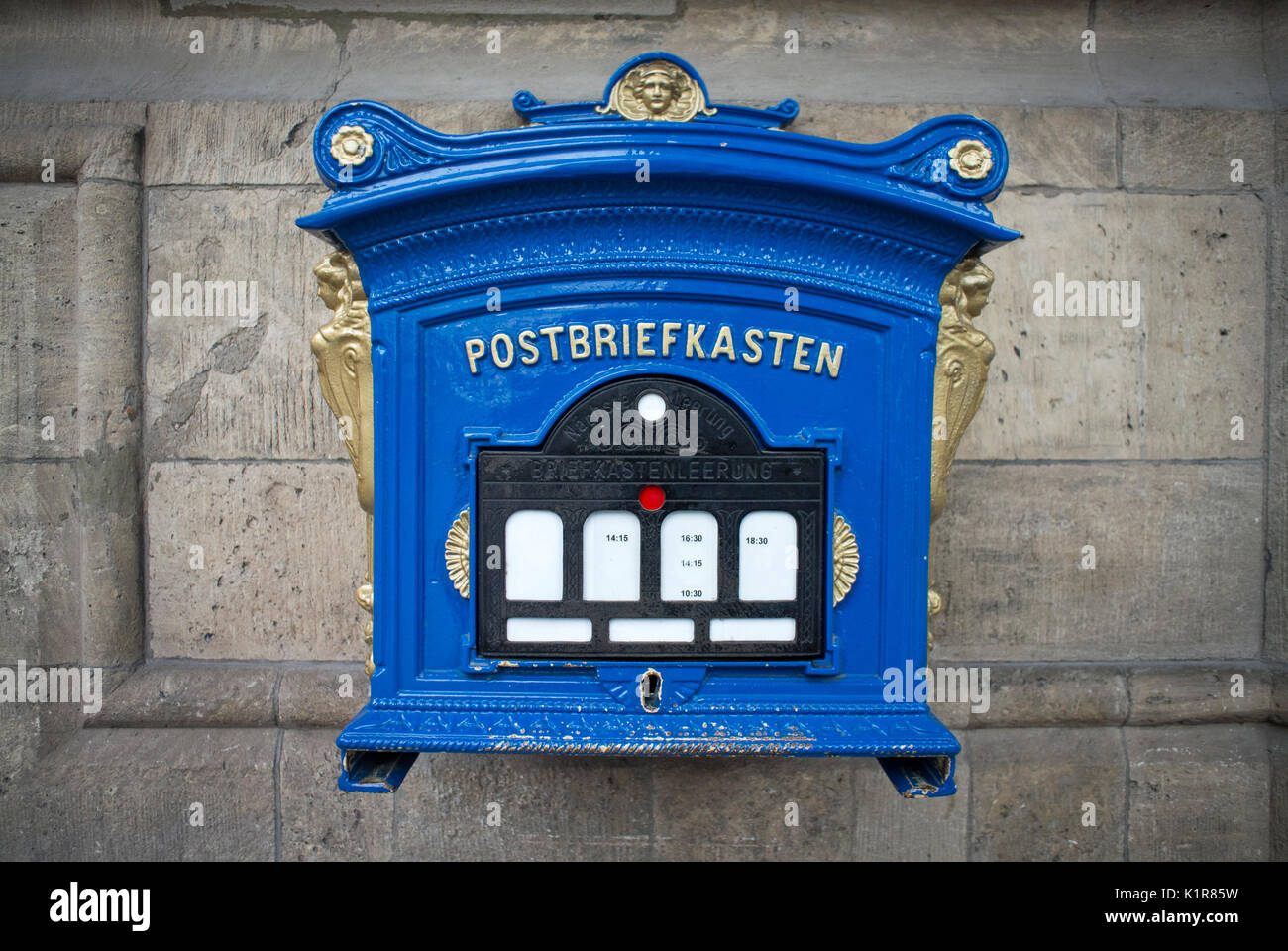 Post Box at the Rathaus in The Fischmarkt, Erfurt, Thuringia, Germany - Stock Image