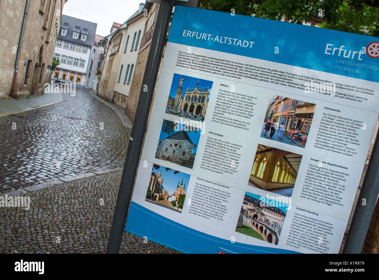 City map in the Old Town at Erfurt outlines the historical places to visit. - Stock Image