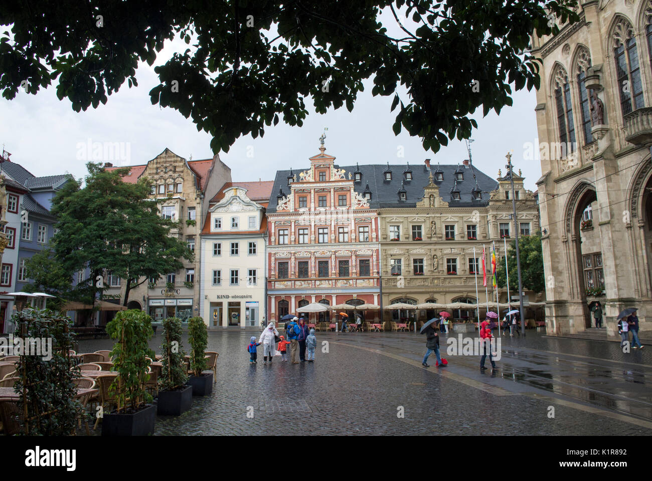 The Fischmarkt or market square in Erfurt, Thuringia, Germany - Stock Image