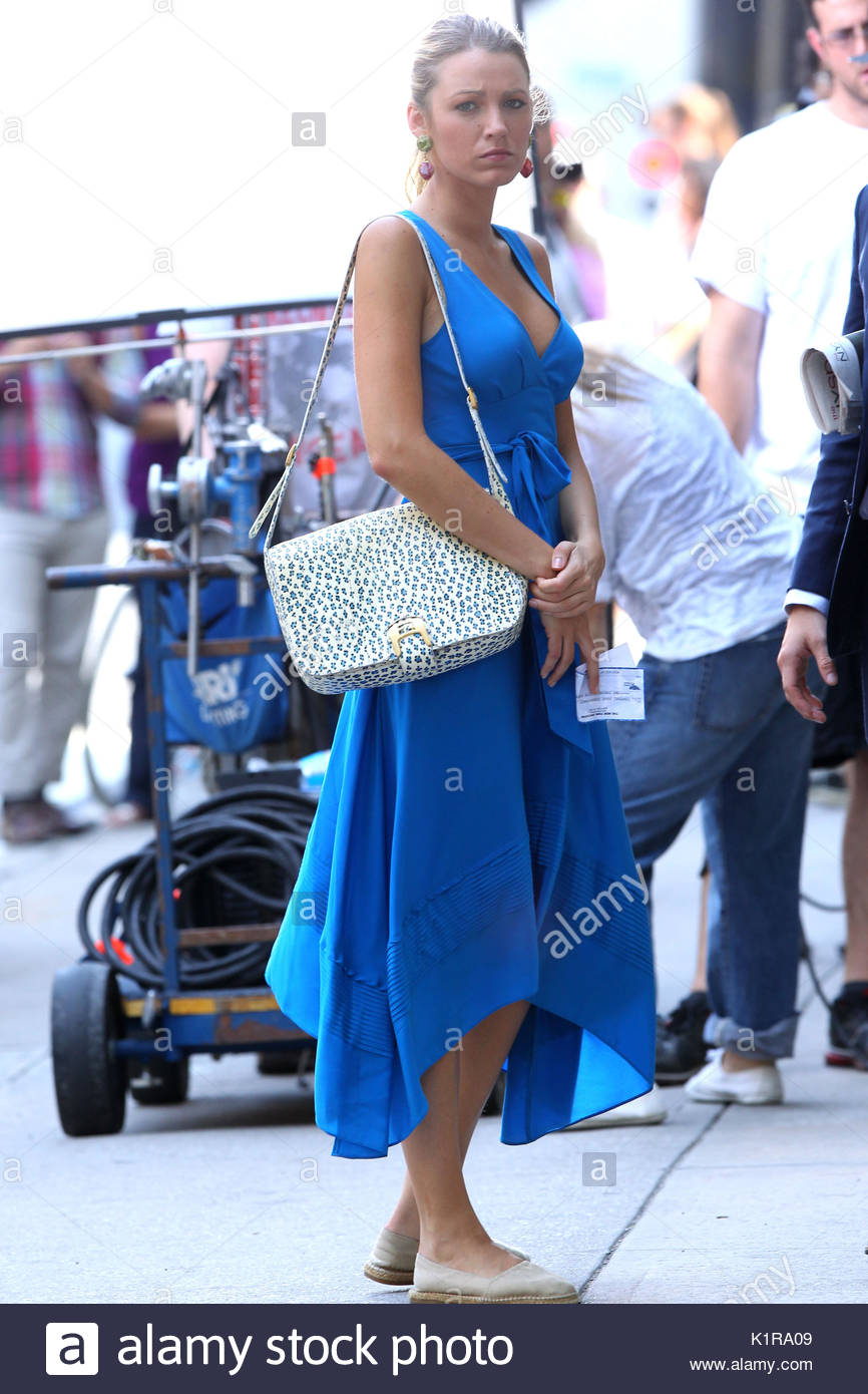 Blake Lively. Actress Blake Lively, wearing a blue Marc by ...