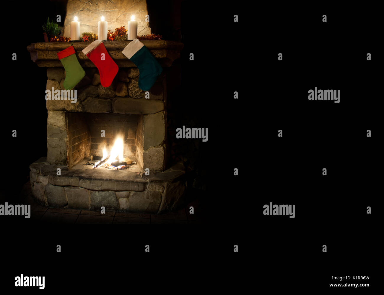Christmas Postcard Template Colorful Stocking On Fireplace Stock - Christmas postcard template