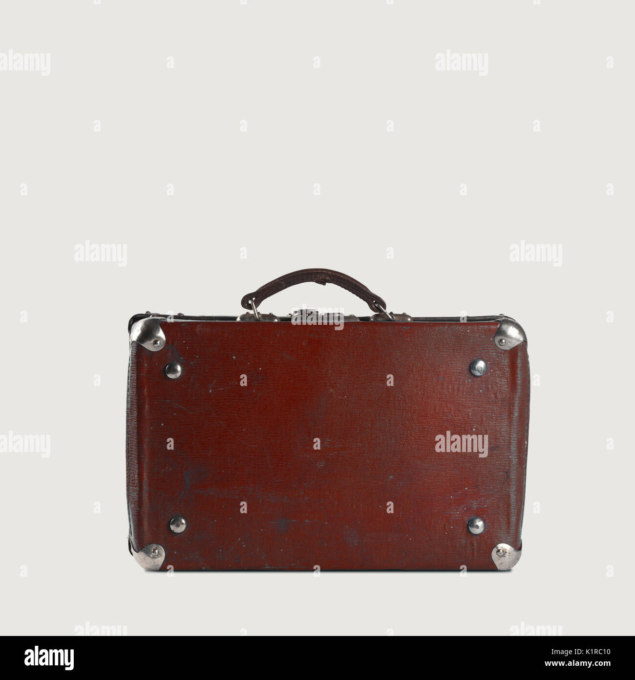 Old-fashioned brown traveller's bag - Stock Image