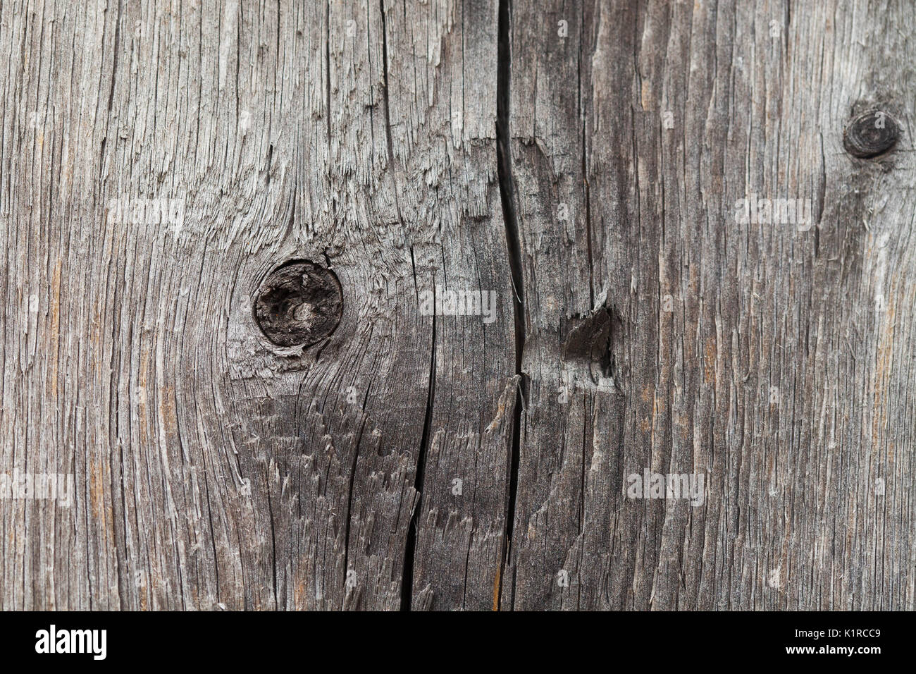 Vintage wood texture. aged floor with knots, cracks, fractures. Macro view. - Stock Image