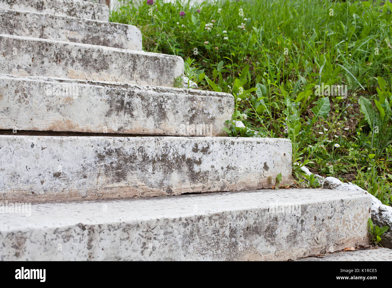 Aged white stone stairway - Stock Image