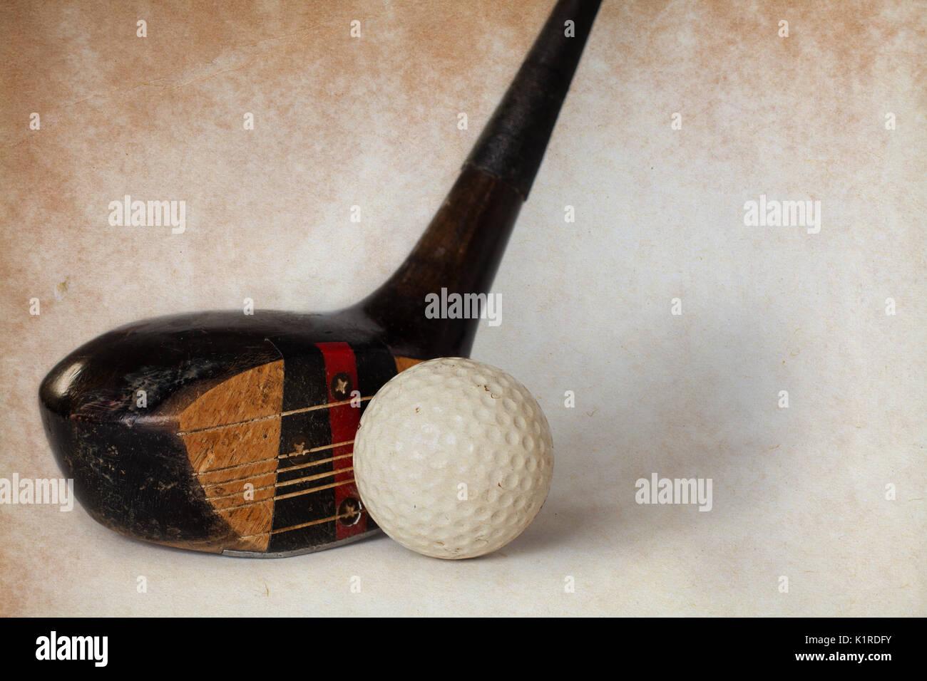 Vintage Antique Golf Driver Putter Club Retro Paper Background