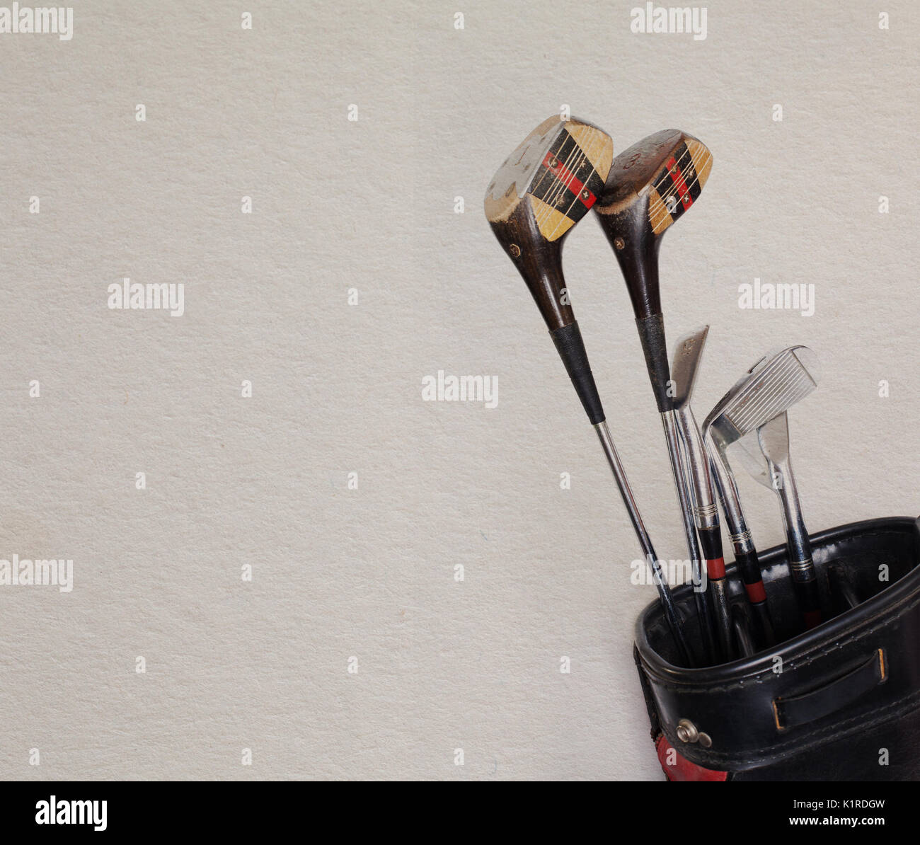 Golf Equipment Retro Clubs In An Old Leather Bag Vintage Paper Background
