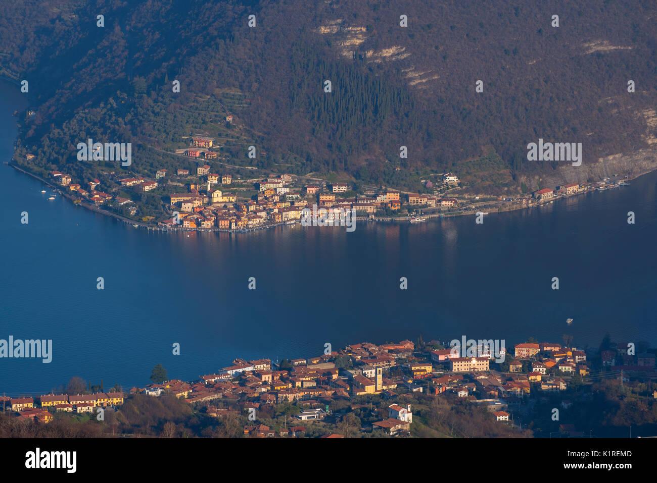 Peschiera Maraglio and Sulzano, province of Brescia, Italy. - Stock Image