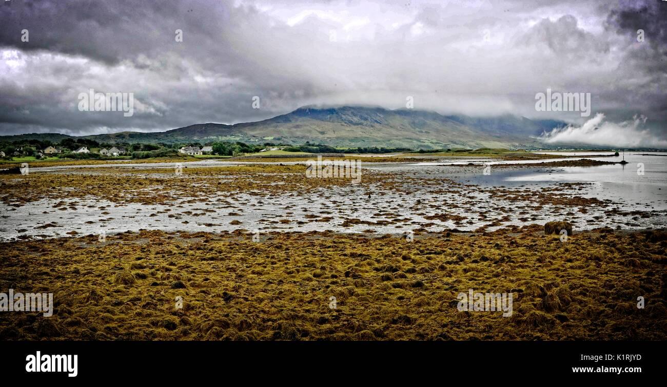 Ireland Co Mayo Westport coastal panorama - Stock Image