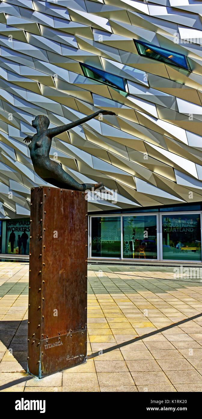 Belfast Northern Ireland Titanic Museum sculpture Titanica by Rowan Gillespie 2012 Stock Photo