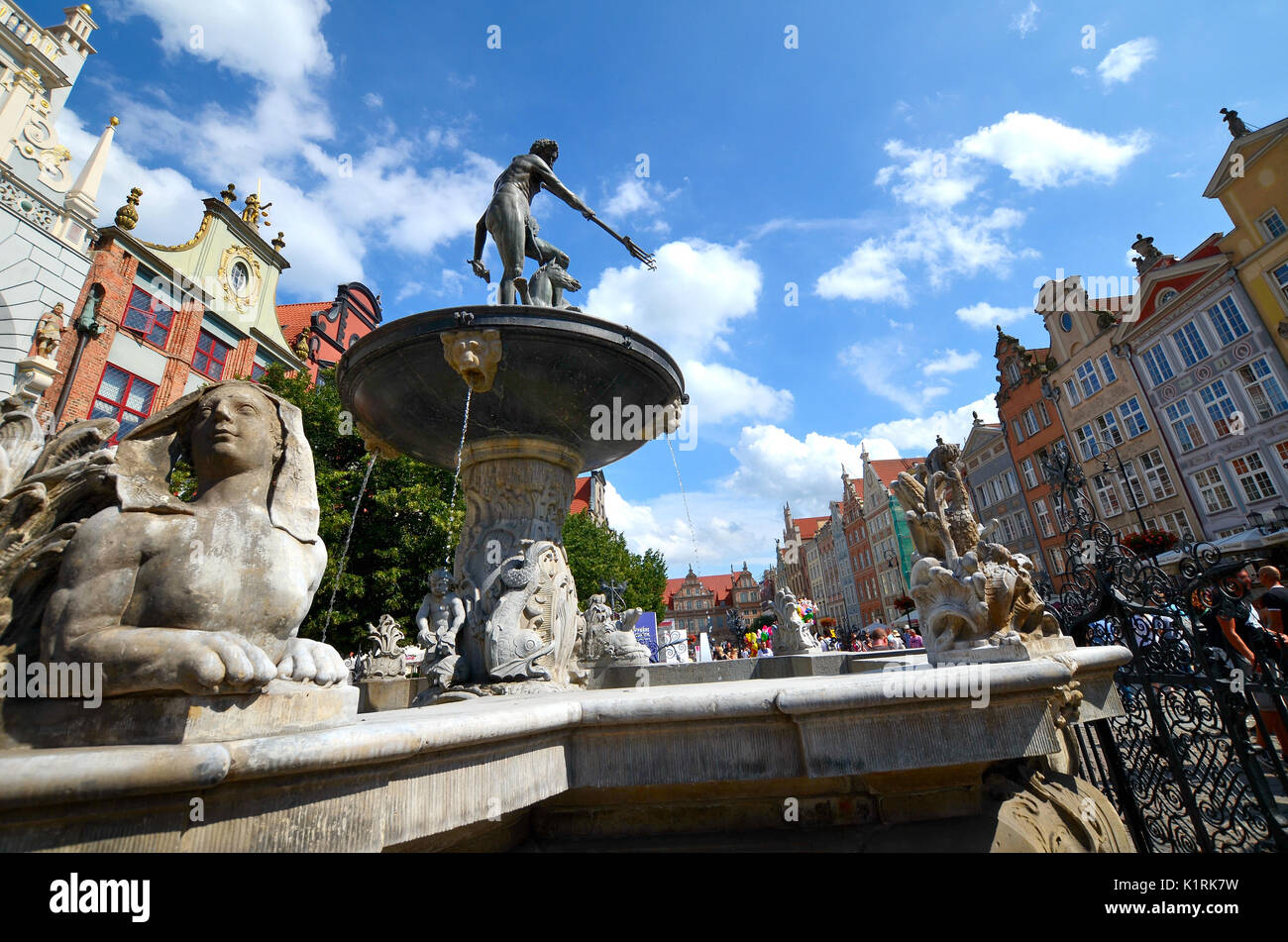 Neptune's Fountain, Gdansk, Poland Stock Photo