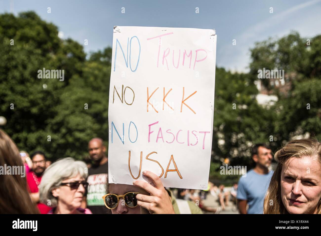 New York City, New York, USA. 27th Aug, 2017. Over 80 demonstrated at NYC's Union Square against the rise of fascism and white supremacy in the United States. Furthermore, the action was a show of solidarity with Berkeley, California, where the far- and radical-right organized a demonstration, which was met with counter-demonstrations. In the course of the demonstration, the platform turn towards the Israel-Palestine issue and anti-Zionism. Credit: Sachelle Babbar/ZUMA Wire/Alamy Live News - Stock Image