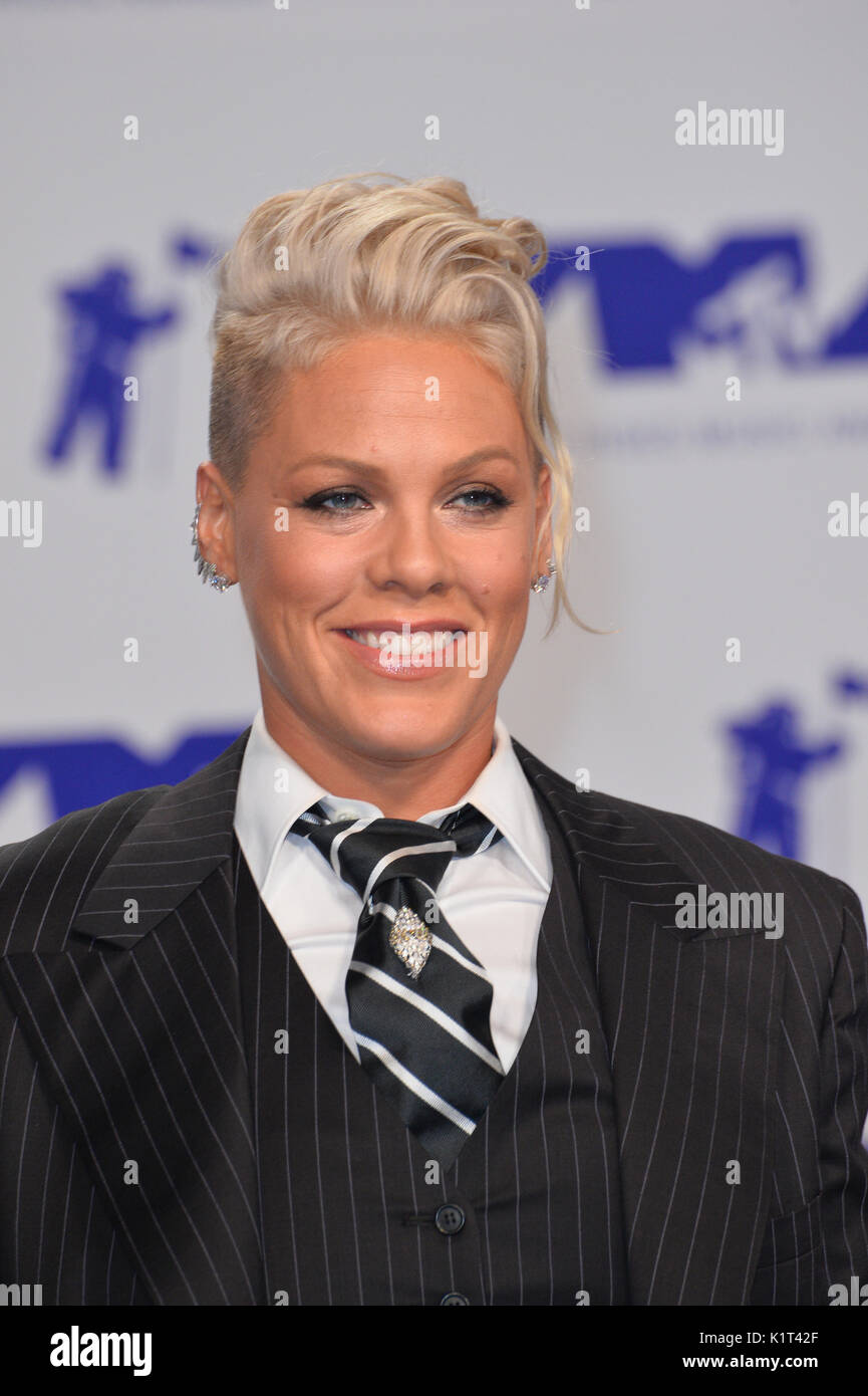 "Los Angeles, USA. 27th Aug, 2017.  Pink at the 2017 MTV Video Music Awards at The ""Fabulous"" Forum Picture Credit: Stock Photo"