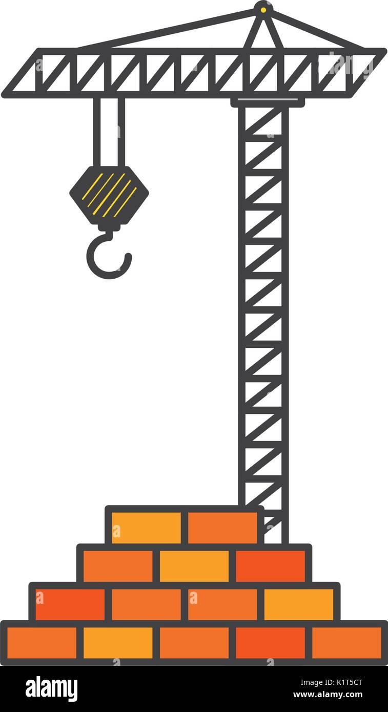bricks wall with crane - Stock Vector