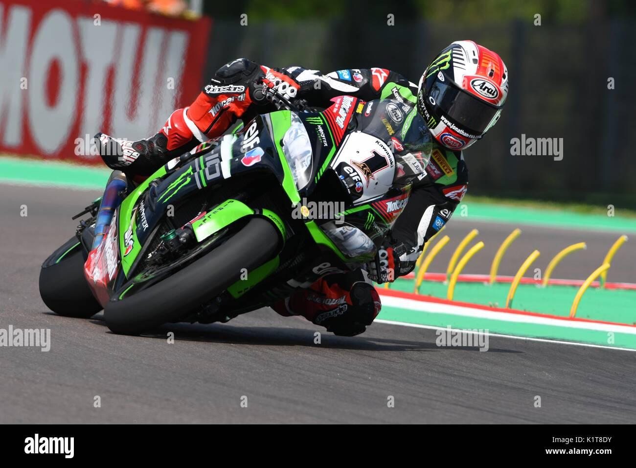 San Marino, Italy - May 12: Jonathan Rea of Great Britain Kawasaki Racing Team rides during qualifyng session at the World Superbike Championship.at I - Stock Image