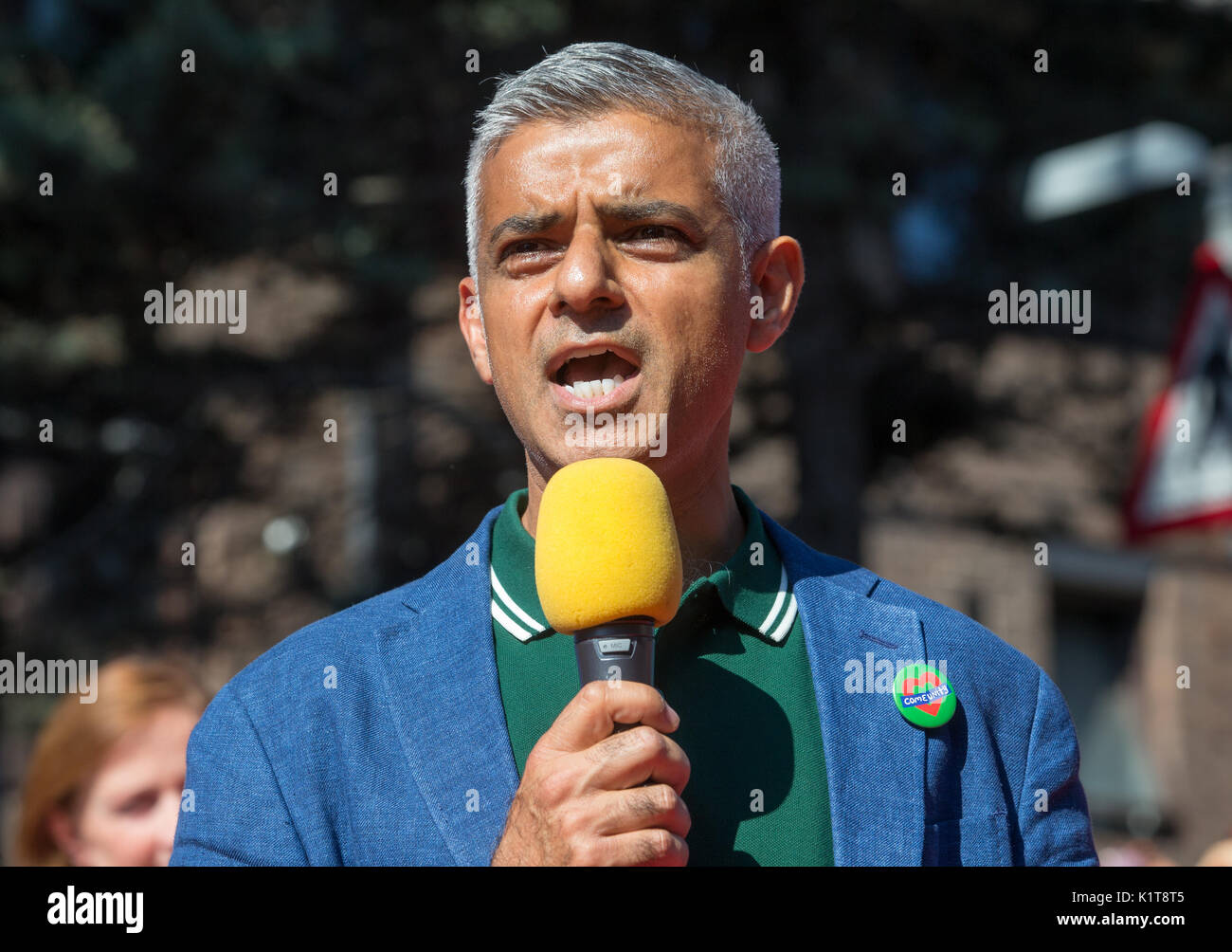 Sadiq Khan, at the Notting Hill carnival 2017.He spoke about the Grenfell fire tragedy and released a dove in their memory - Stock Image