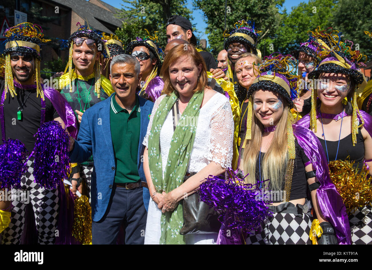 Mayor of London, Sadiq Khan with MP for Kensington, Emma Dent Coad at the Notting Hill carnival 2017.They both spoke about the Grenfell Tower tragedy - Stock Image