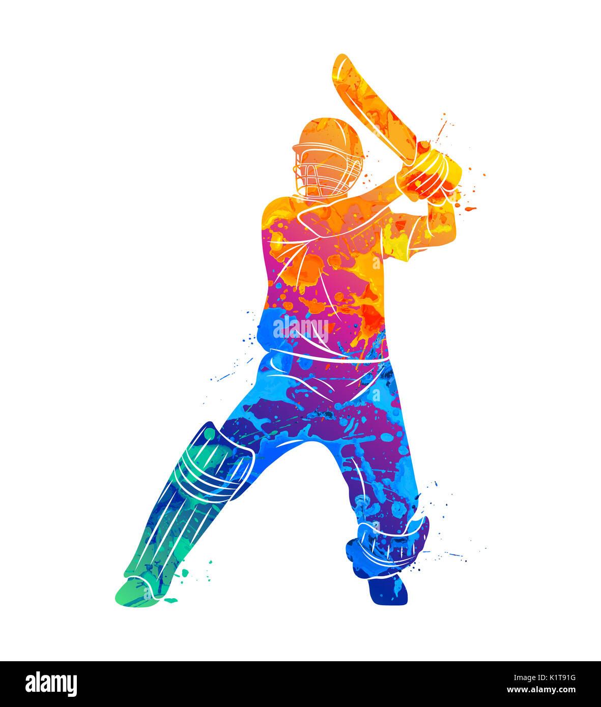 Abstract batsman playing cricket - Stock Image