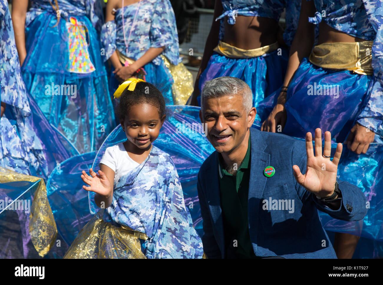Mayor of London, Sadiq Khan, at the Notting Hill carnival 2017.He made a speech as well as releasing a dove in memory of the victims of Grenfell fire - Stock Image