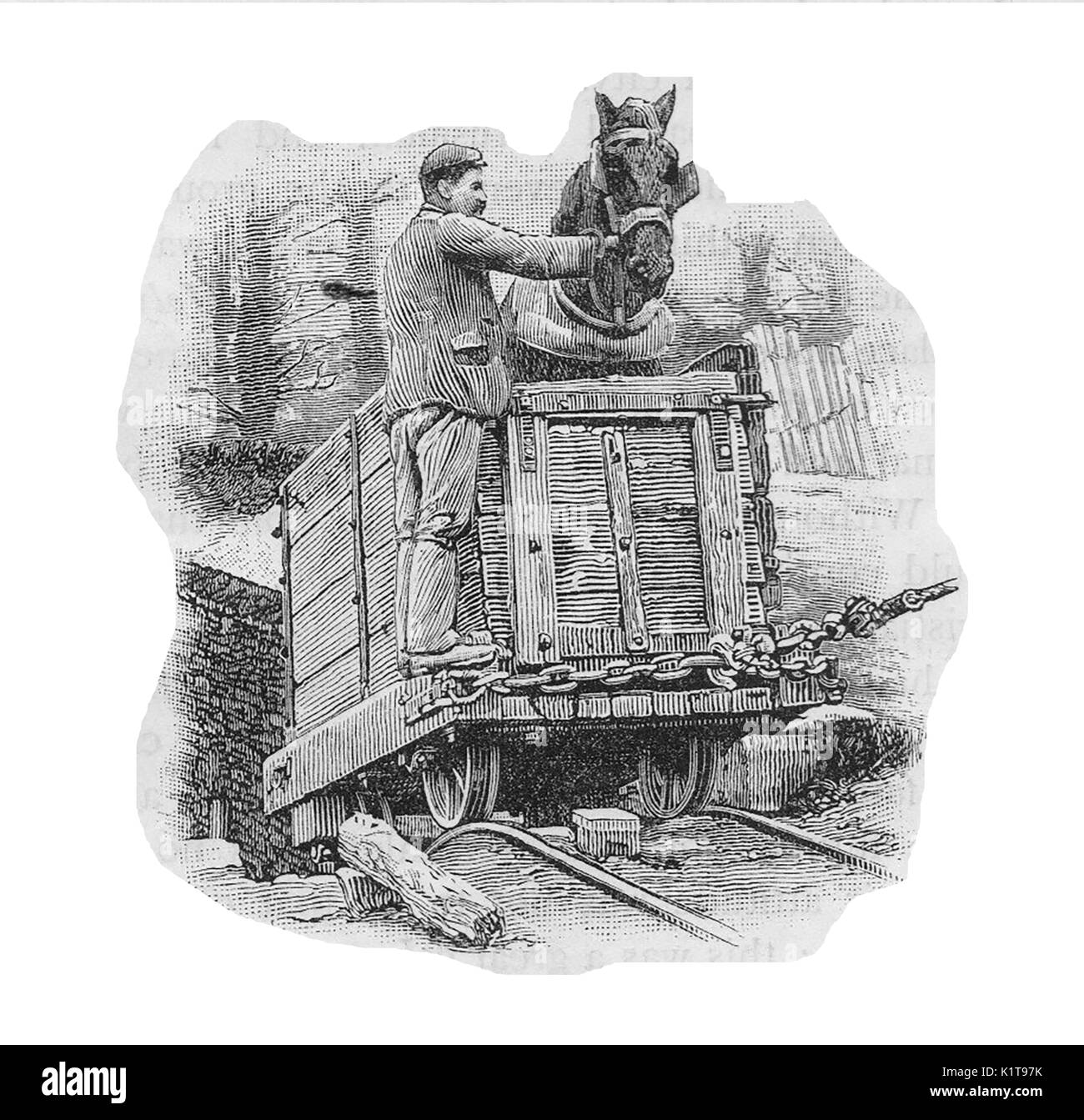 1900 - A British coal miner and his pit pony ascending from a mine in a coal truck - Stock Image