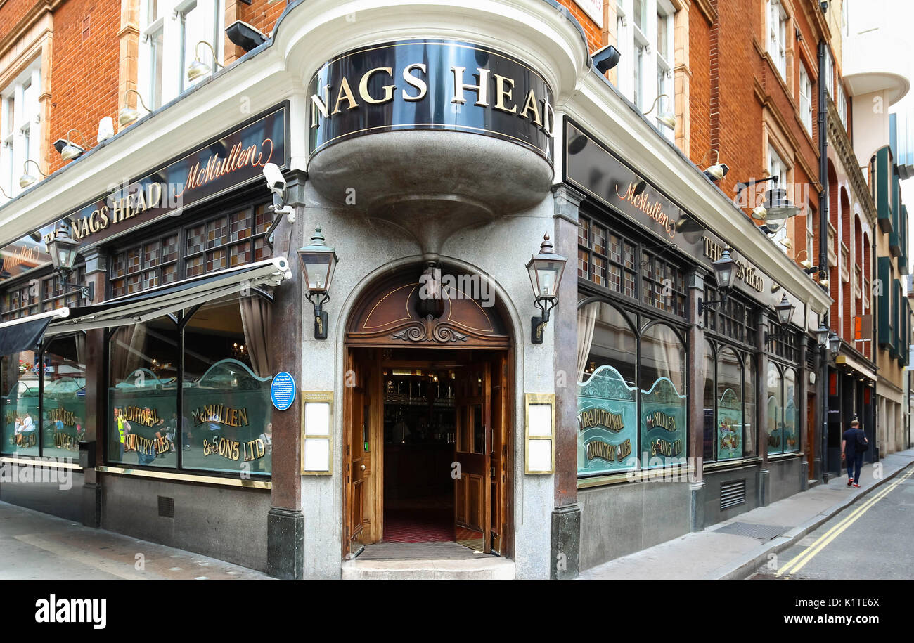The Nags Head Pub London is traditional English pub at Covent Garden in London, United Kingdom. Stock Photo